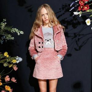 SRETSIS Faux Fur Cropped Jacket + Mini Skirt Set